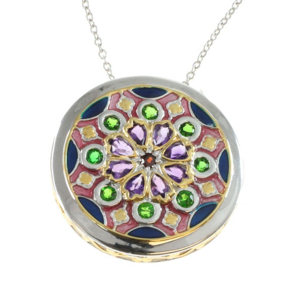 Michael Valitutti Palladium Silver Multi-gemstone Notre Dame Pendant