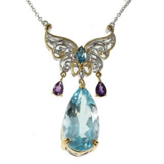 Michael Valitutti Palladium Silver Swiss Blue Topaz Butterfly Necklace