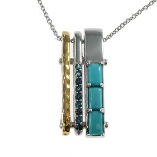 Michael Valitutti Palladium Silver Turquoise and London Blue Topaz Pendant