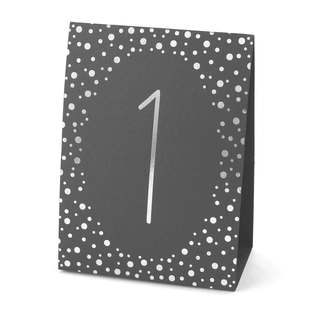 Polka Dot Table Number Tents- Silver Foil (1-40)