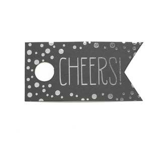 Silver Foil 'Cheers' Polka Dot Favor Cards (Pack of 25)