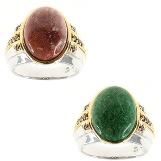 Michael Valitutti Red Mookaite and Garnet or Maw Sit Sit and Chrome Diopside Ring