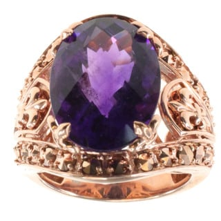 Dallas Prince Gold Over Silver Amethyst and Marcasite Ring