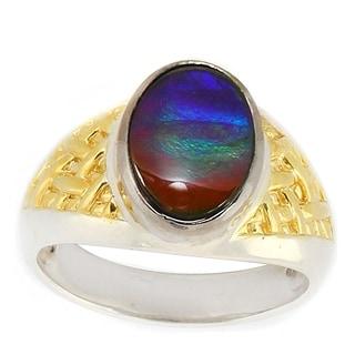 Michael Valitutti Goldtone Silver Ammolite Ring