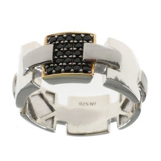 Michael Valitutti Men's Palladium Silver Black Spinel Ring