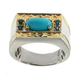Michael Valitutti Men's Turquoise and London Blue Topaz Ring