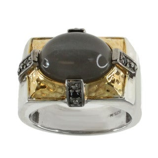 Michael Valitutti Men's Grey Moonstone and Black Spinel Ring