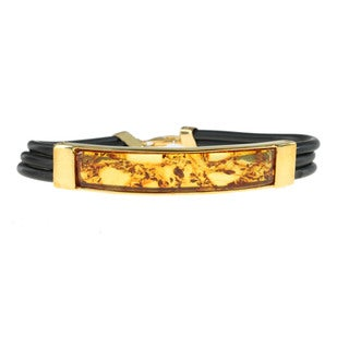 Michael Valitutti Men's Palladium Silver and Amber Bracelet