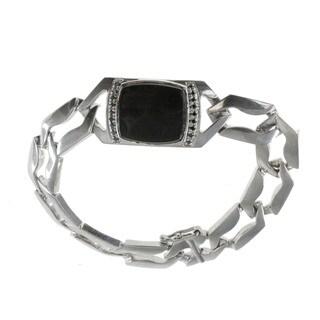 Michael Valitutti Sterling Silver Psilomelane Black Diamond Accents Bracelet