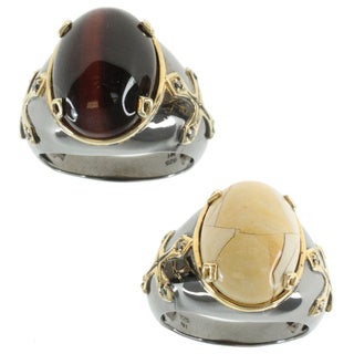 Michael Valitutti Gold Over Silver Men's Tiger's Eye or Agate Ring