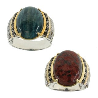 Michael Valitutti Men's Cuprite Chrysocolla or Opaque Blue Apatite Ring