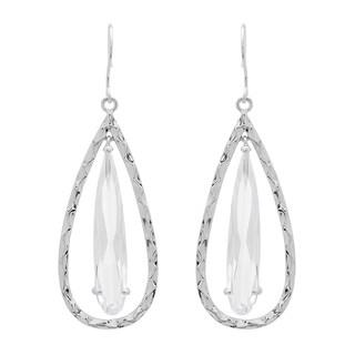 Sterling Essentials Silver Cubic Zirconia Hammered Teardrop Earrings