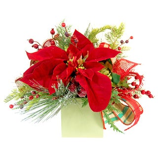 Red Faux Poinsettia and Evergreen Planter