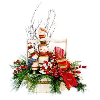 Snowman Family Decorative Basket