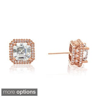 Gioelli 14k Gold Asscher-cut Cubic Zirconia Designer Stud Earrings