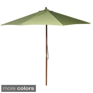 Jordan Manufacturing 9-foot Spun Polyester Wooden Market Umbrella