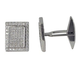 Sterling Silver Men's Micro-pave Cubic Zirconia Modern Rectangle Cufflinks