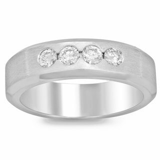 14k White Gold 1/2ct TDW Men's Bezel Set Diamond Ring (F-G, SI1-SI2)