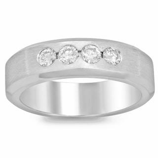 14k White Gold 1/2ct TDW Men's Bezel Set Diamond Ring (F-G, SI1-SI2)
