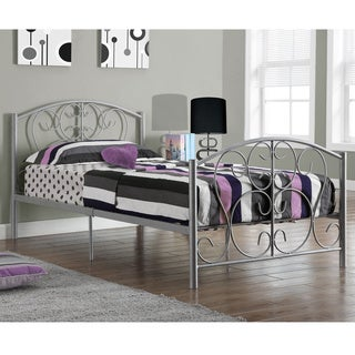 Silver Metal Twin Size Bed Frame Only