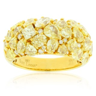 Suzy Levian 18K Yellow Gold 4.264ct TDW Yellow Diamond Multi-Cut Cluster Anniversary Ring