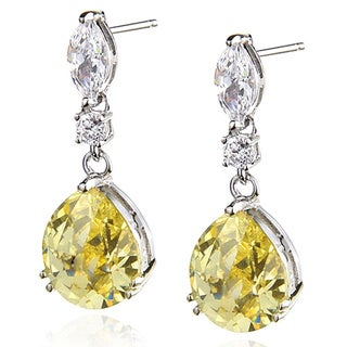 Sterling Silver Rhodium Canary/White Cubic Zirconia Drop Earrings with Rose Cut Pears