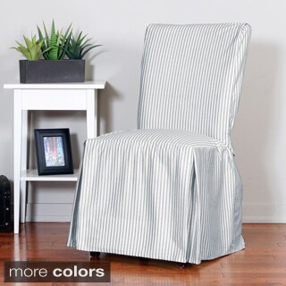 Ticking Stripe Relaxed Fit Long Box Pleat Parsons Chair Slipcover