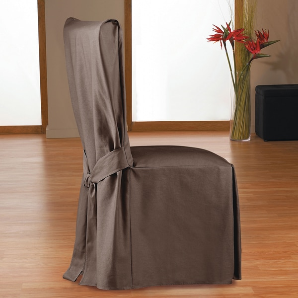 Twill Long Box Pleat Dining Chair Slipcover