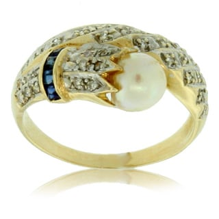 Pre-owned Estate 14k Yellow Gold Pearl and Diamond Ring with Sapphire