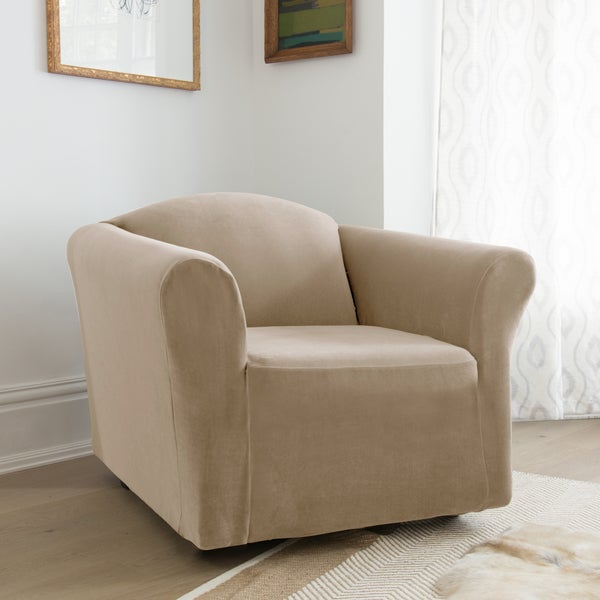 Stretch Velvet 1-piece Form Fit Chair Slipcover