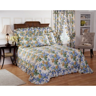 Plisse Hydrangea Floral Bedspread with Separate Sham