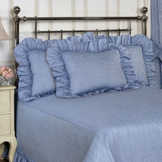 Plisse Blue Gingham Check Bedspread