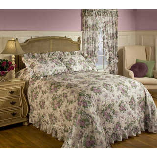 Plisse Floral Bedspread Set with Separate Sham