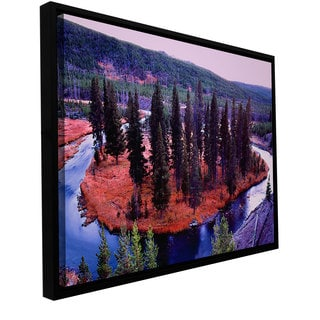 ArtWall Dean Uhlinger 'Dusk Meander Yellowstone' Floater Framed Gallery-wrapped Canvas