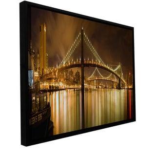 ArtWall Cody York 'Brooklyn Bridge' Floater Framed Gallery-wrapped Canvas