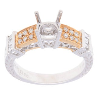 18k Two-Tone Gold Round/ Baguette Diamond Textured Semi-Mount Ring (Size 6.5)
