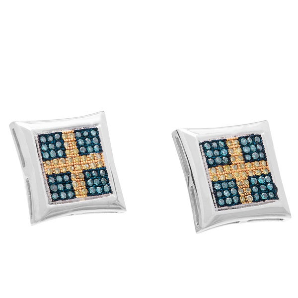 Sterling Silver Yellow and Blue Diamond Pave-set Cross Earrings