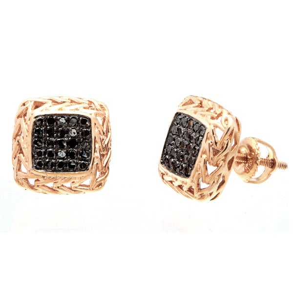 Rose-plated Silver Black Micro-pave Diamond Filigree Earrings