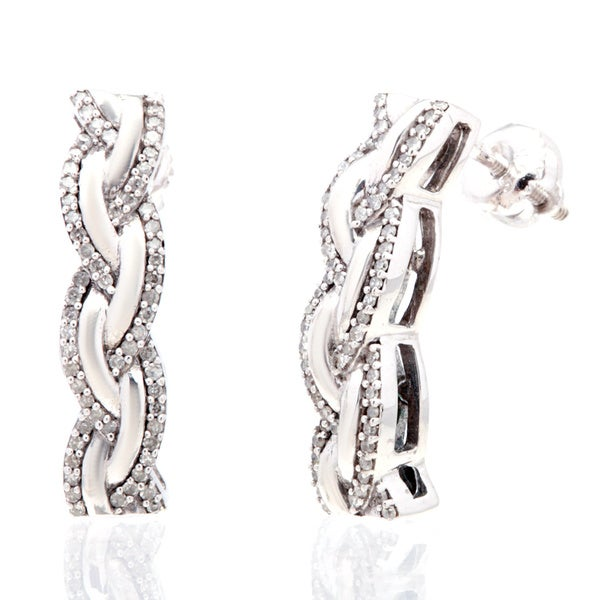 Sterling Silver Diamond Braided Drop Earrings