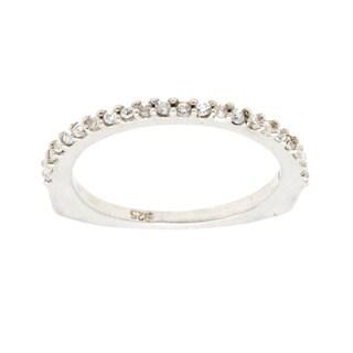 14K White Gold Channel-set Euro Shank Diamond Wedding Band (Size 6.75)