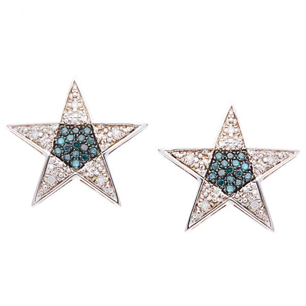 Sterling Silver Blue and White Diamond Pave-set Star Earrings