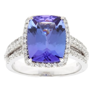 14k White Gold Large Emerald-cut Tanzanite 3-row Diamond Accent Ring - Size 7