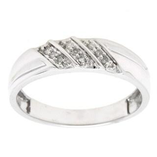 14k White Gold 1/20ct TDW Diamond Wedding Band (Size 7)