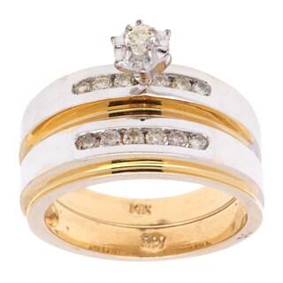 14K Two-tone Gold Diamond-accent Wedding Trio Set
