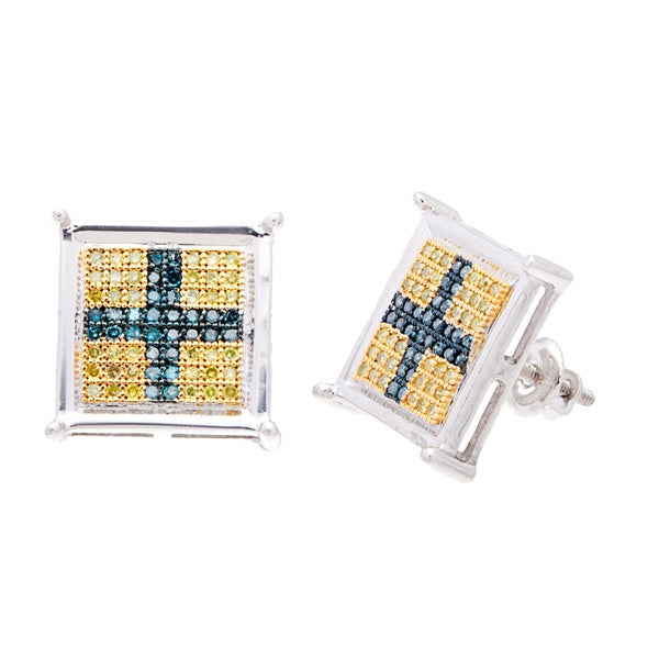 Sterling Silver Blue and Yellow Pave-set Diamond Fashion Earrings