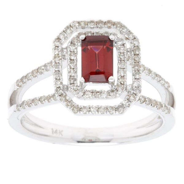 14k White Gold Emerald-cut Composite Garnet Diamond Halo Ring (Size 7)