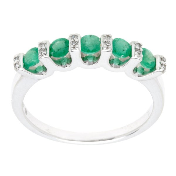 14k White Gold 5 Round Genuine Composite Emerald Diamond Ring (Size 7)