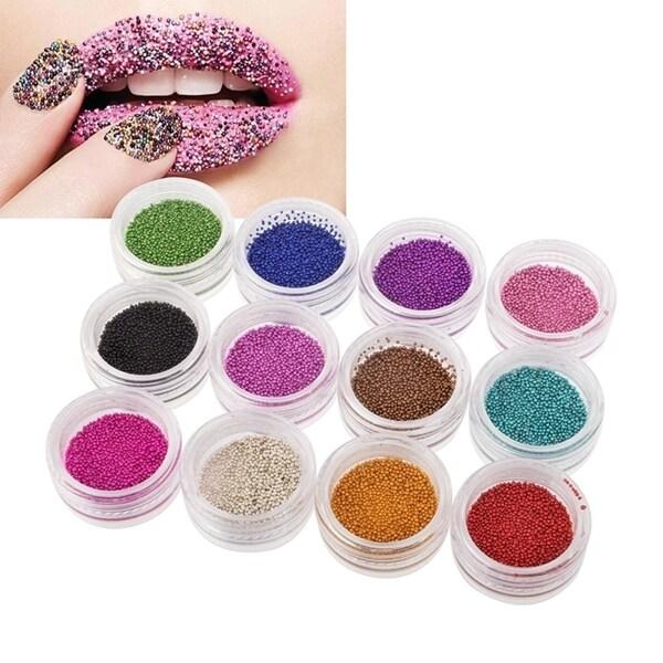 Zodaca 12-color Mini Beads Glitter Nail Art Design Set