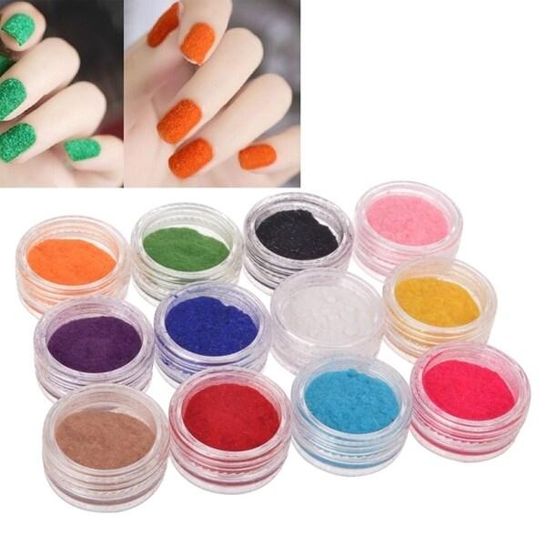 Zodaca 12-color Velvet Flocking Glitter Nail Art Set