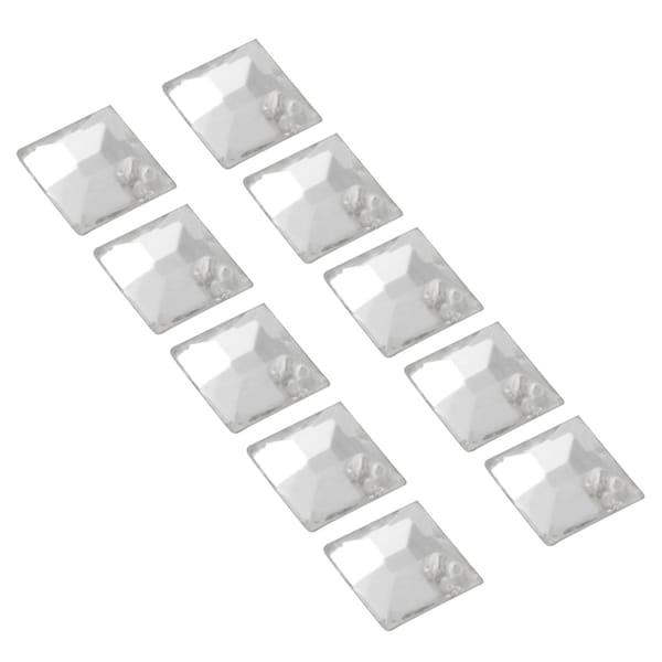 Zodaca 4 x 4mm Square Classy Nail Art Idea Design DIY 3D Crystal Stickers (Pack of 10)